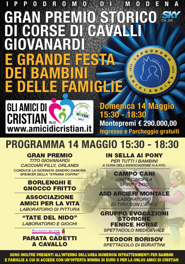 Il Gran Premio Tito Giovanardi e Filly Cacciari diventa una festa solidale per famiglie e bambini