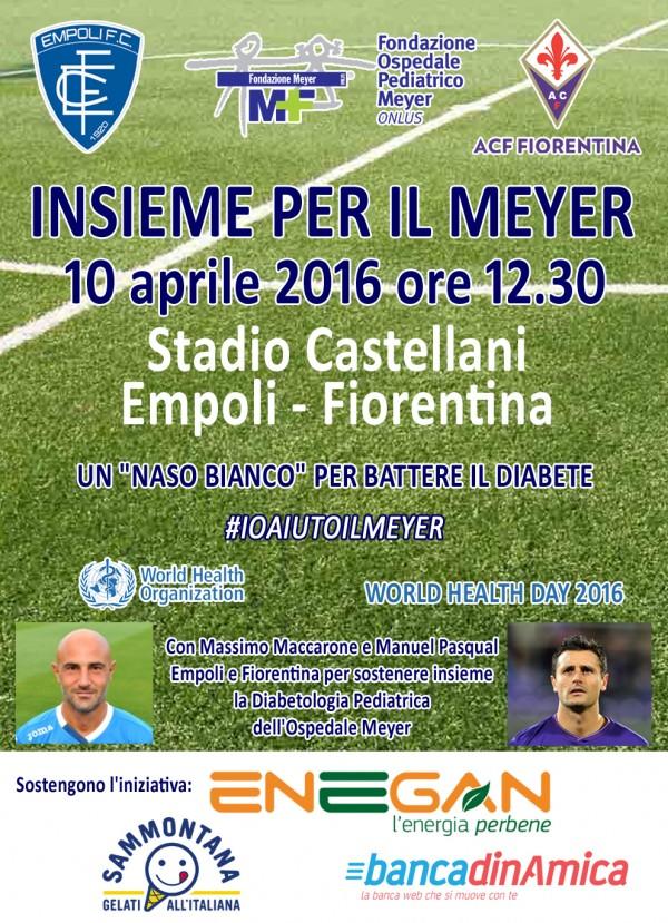 """Un """"naso bianco"""" alla partita Empoli-Fiorentina per combattere il diabete."""
