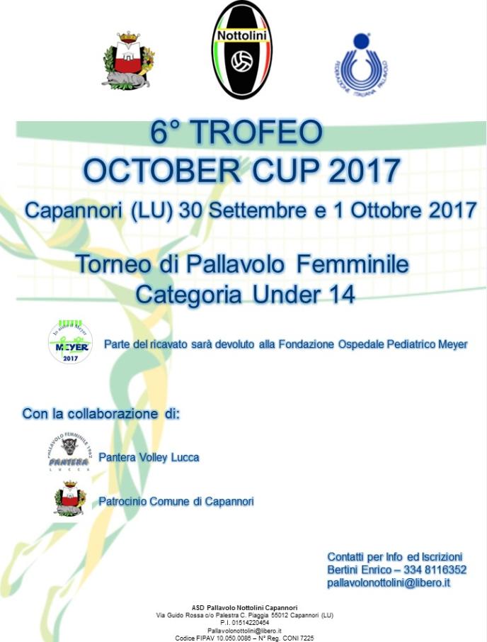 6° trofeo October Cup 2017 under 14
