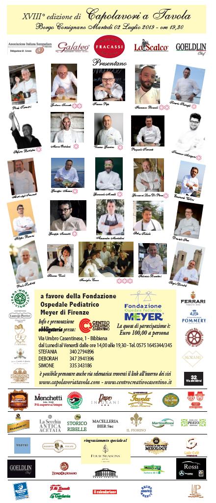 CAPOLAVORI A TAVOLA – XVIII edizione, in Casentino torna il galà della cucina italiana