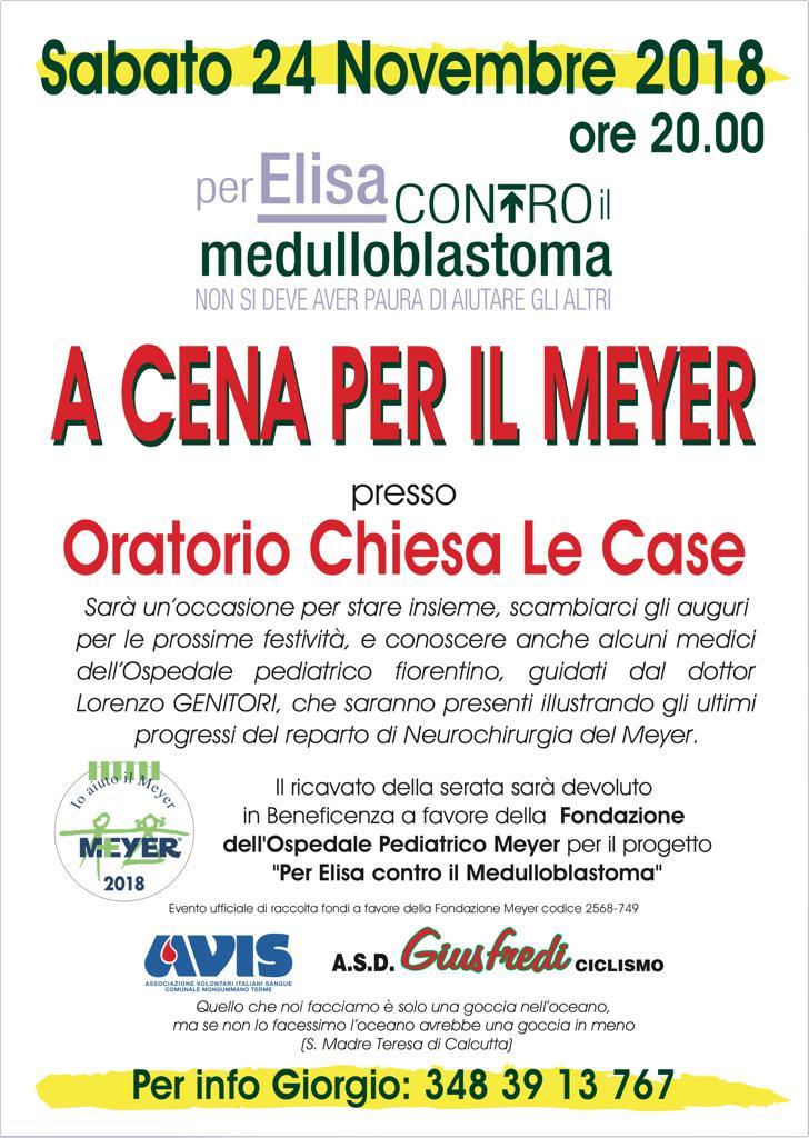 """A cena per il Meyer – progetto """"Per il Elisa contro il medulloblastoma"""""""