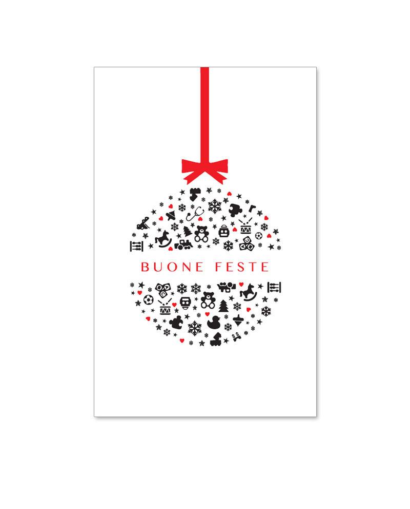 Biglietto solidale con pallina natalizia (B02-p)