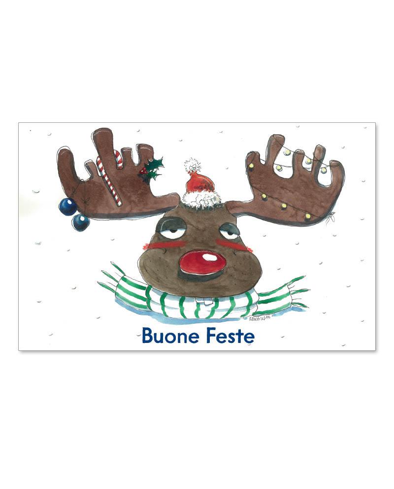 Biglietto con renna natalizia (B07-p)