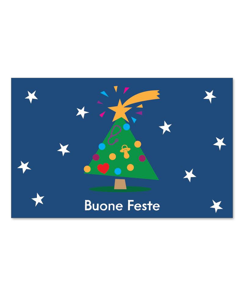 Biglietto con albero e cometa (B08-p)