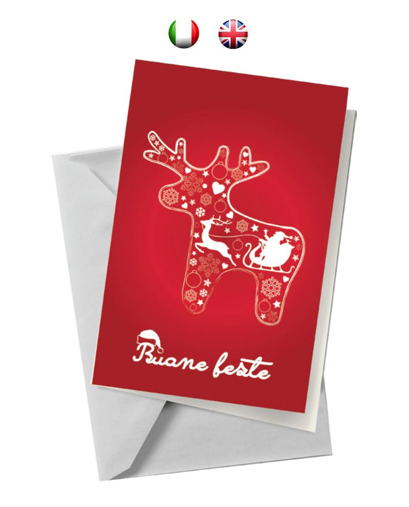 Biglietto con renna rossa (BA04)