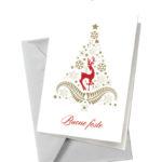 Biglietto bianco con albero e renna (BA06)-10
