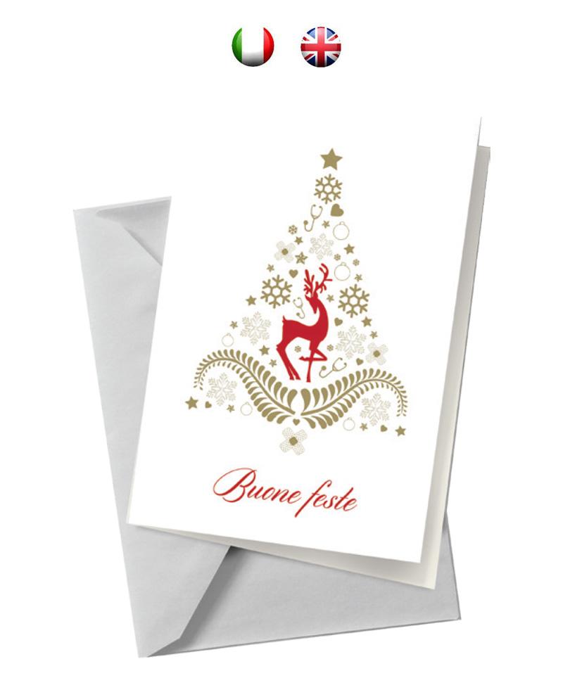 Biglietto bianco con albero e renna (BA06)