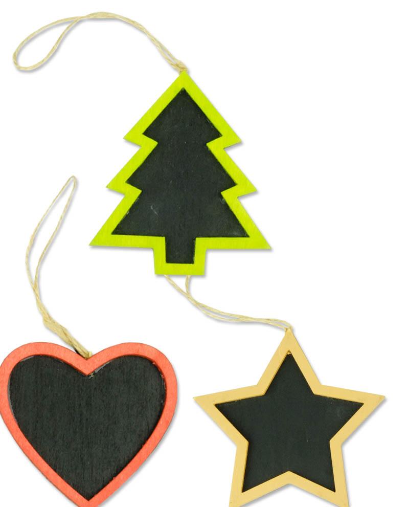 Tris addobbi natalizi colorati in legno