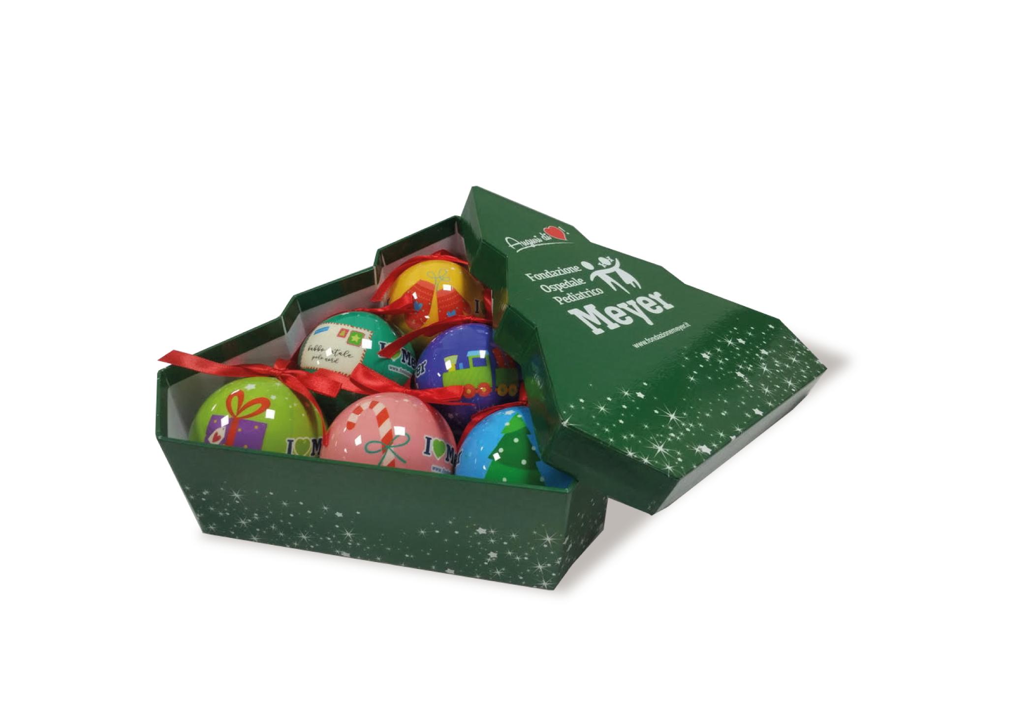 Set 6 palline decorate con elegante scatola verde